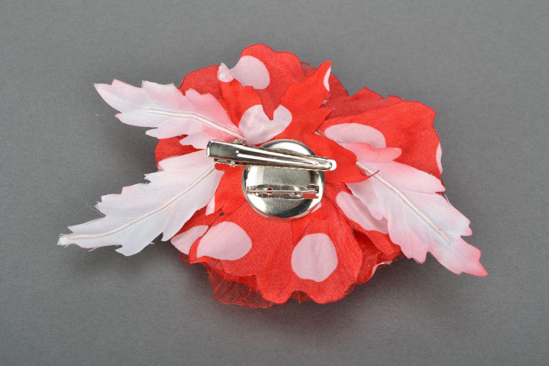 Handmade brooch Scarlet Flower photo 5