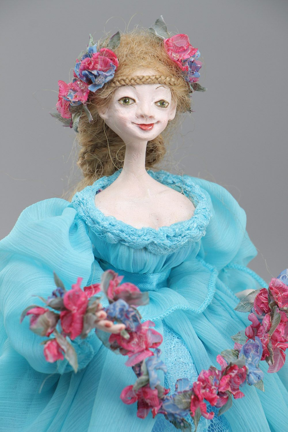 Handmade collectible paperclay interior doll in blue dress photo 3