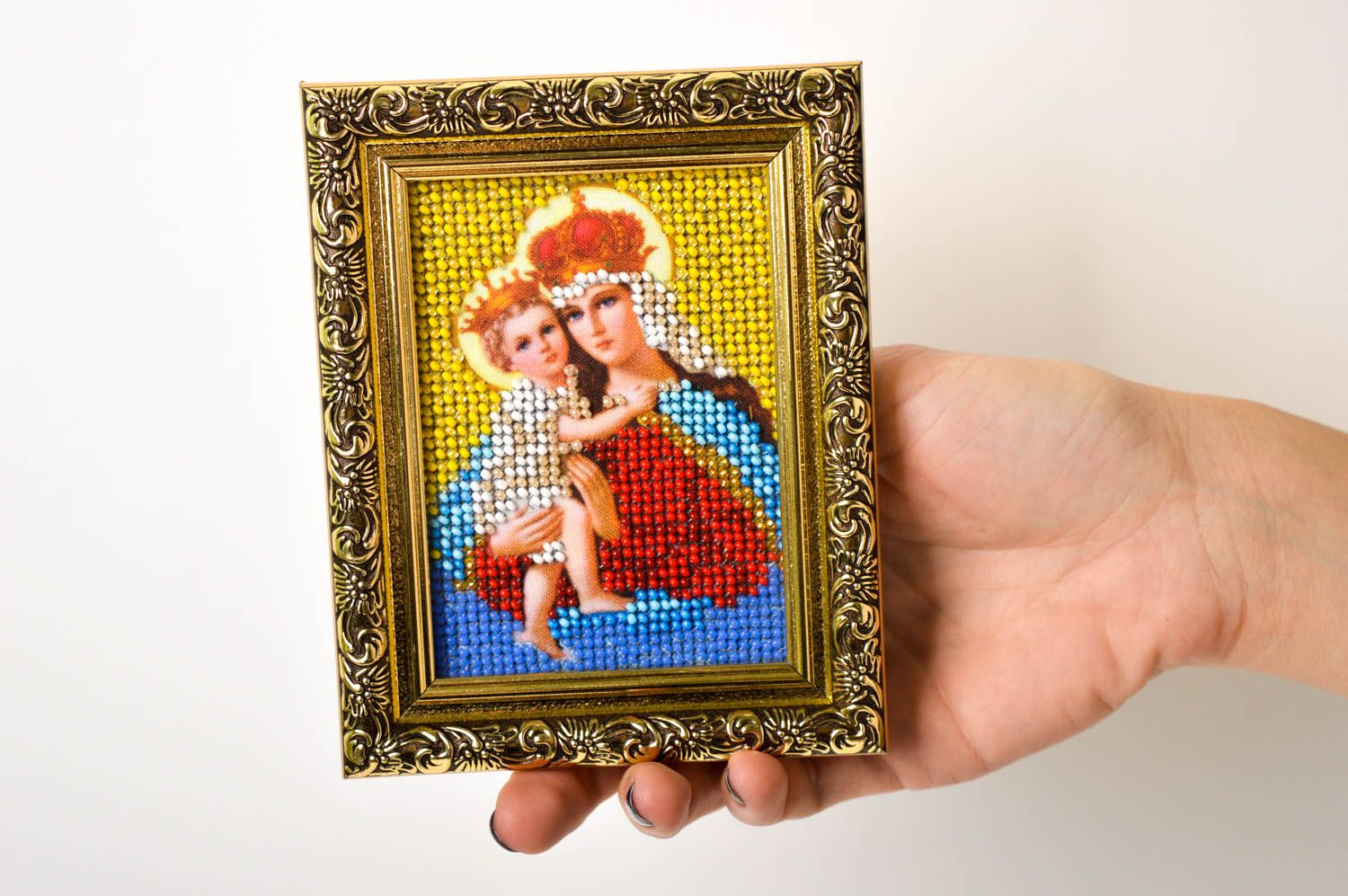 Handmade beautiful icon unusual embroidered icon beaded orthodox present photo 5