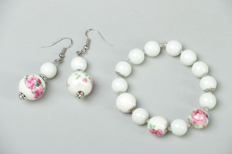Ceramics and Czech glass jewelry set earrings and bracelet photo 1