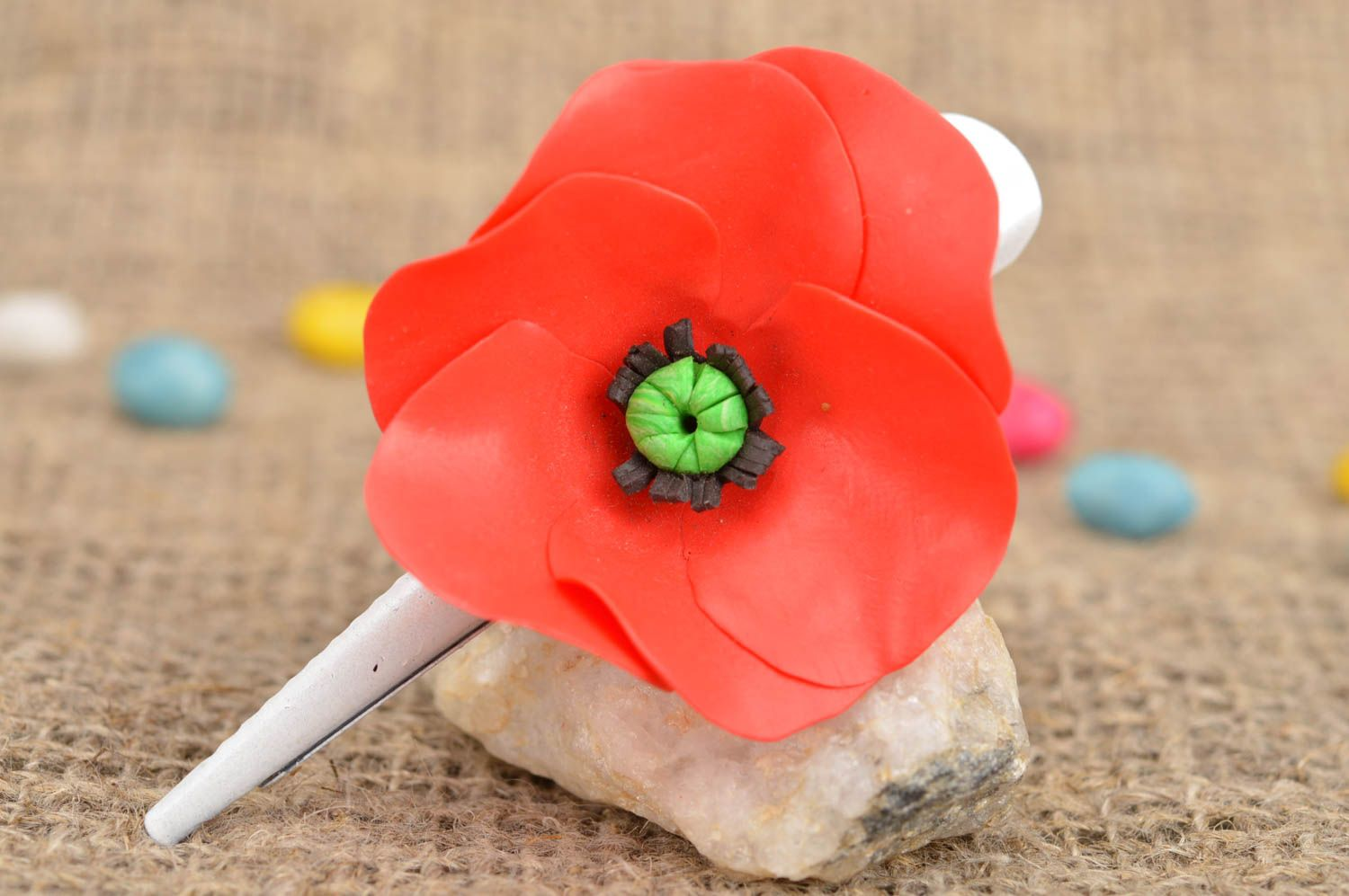 Handmade designer metal hair clip with polymer clay red poppy flower photo 1