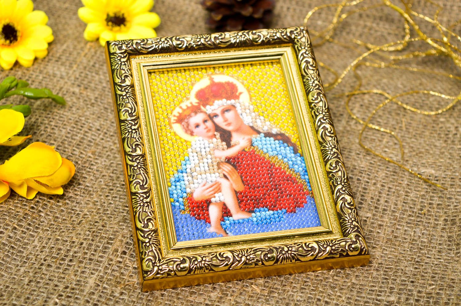 Handmade beautiful icon unusual embroidered icon beaded orthodox present photo 1