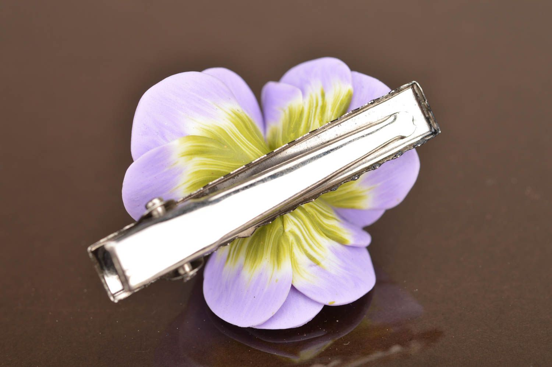 Unusual beautiful handmade designer lilac polymer clay flower hair clip photo 3