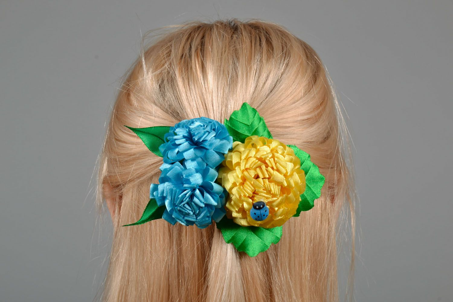 Large hair clip with flowers photo 1