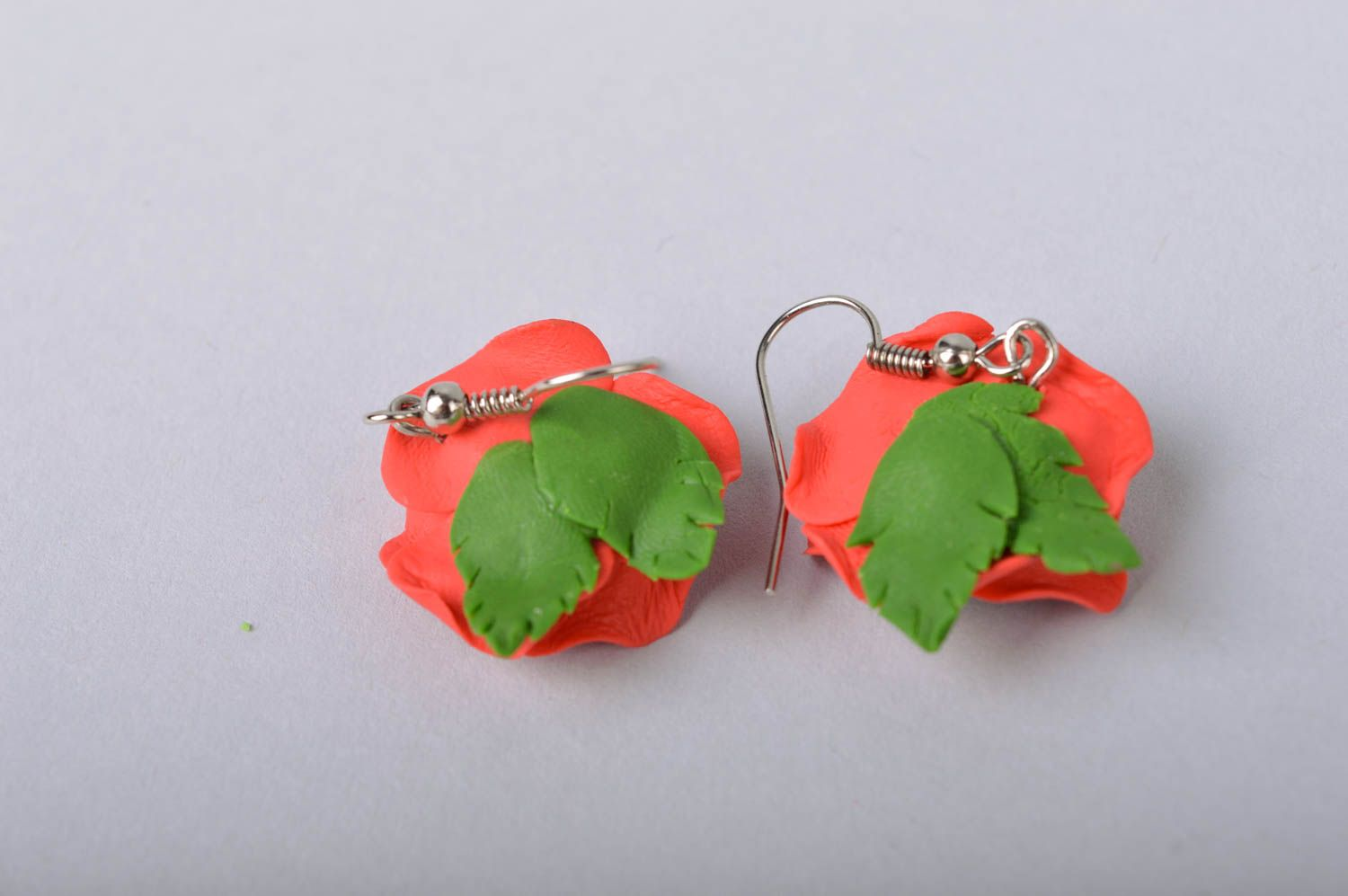 Handmade designer floral cold porcelain dangling earrings red poppies photo 5