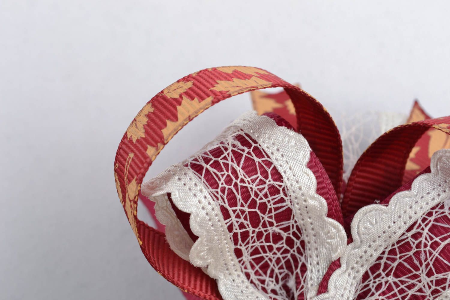 Deep red bow for hair clip photo 3