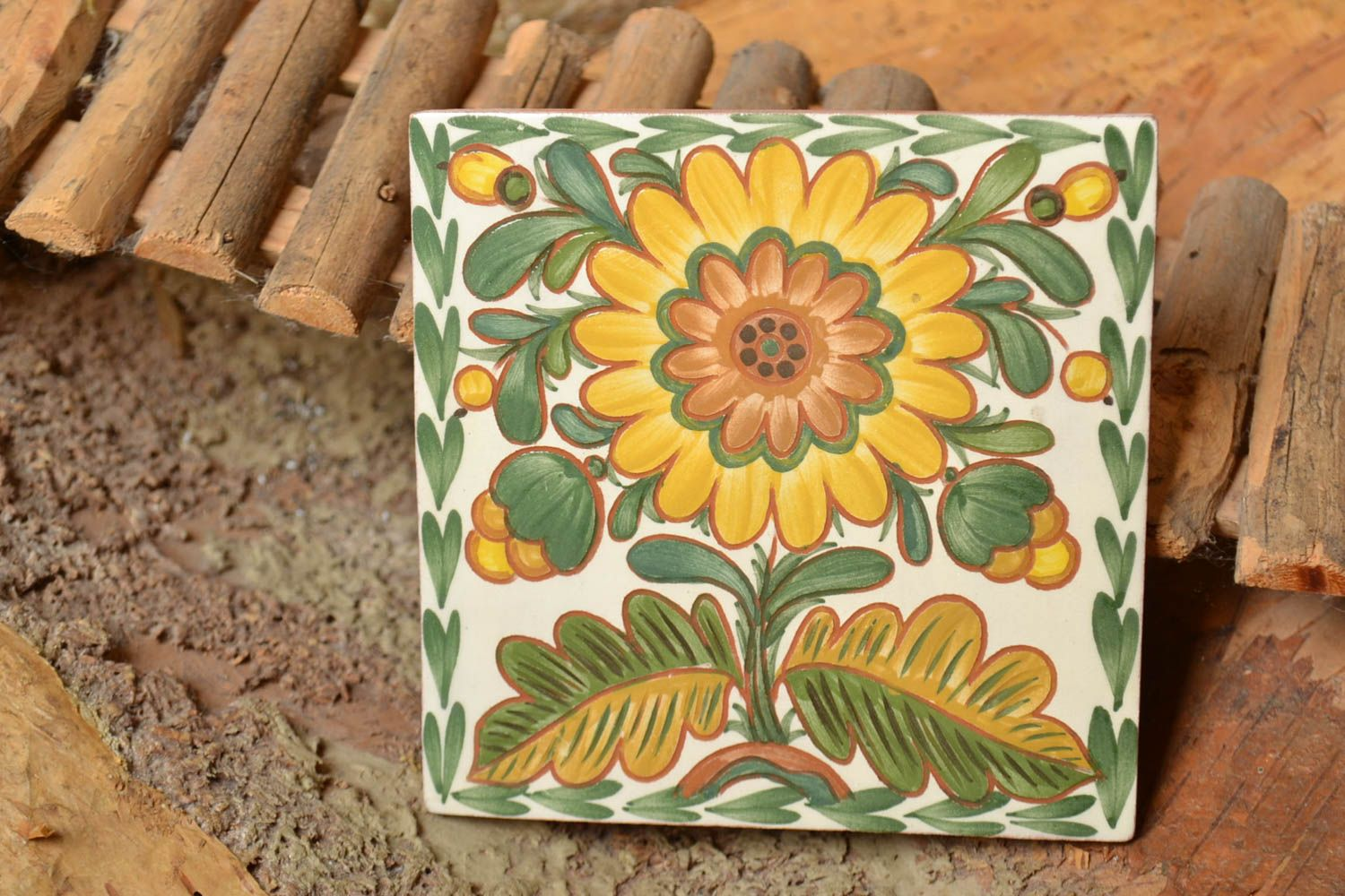 Madeheart handmade decorative ceramic tiles painted with engobes decorative handmade tiles handmade decorative ceramic tiles painted with engobes with flower wall panel madeheart dailygadgetfo Gallery