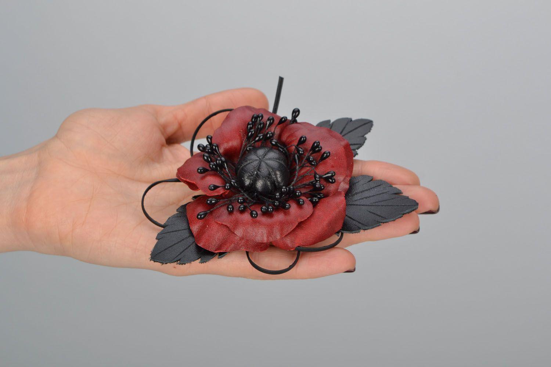 Poppy flower brooch photo 2