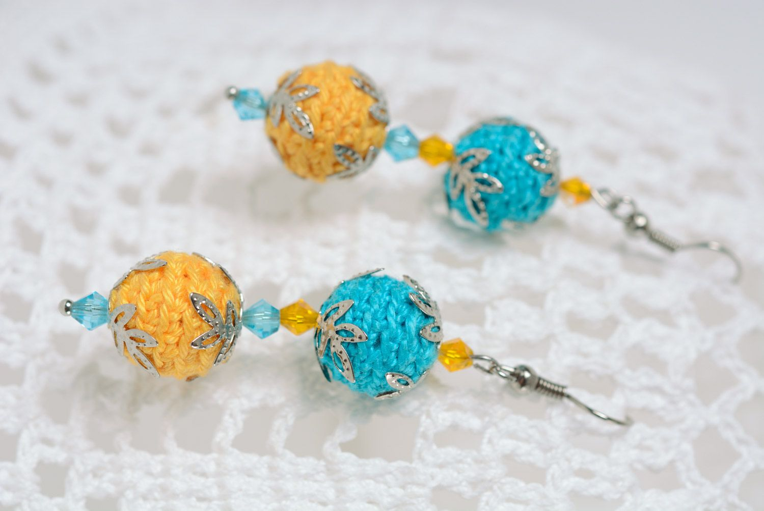 Handmade dangle earrings crocheted of cotton threads of yellow and blue colors photo 1