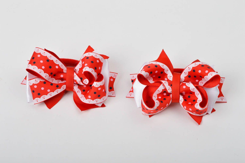 Handmade designer hair ties unusual bow hair ties 2 tender accessories for kids photo 3
