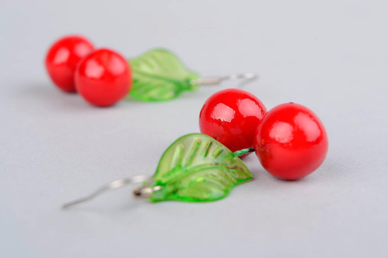 Ohrringe Kirschen aus Polymerton foto 4