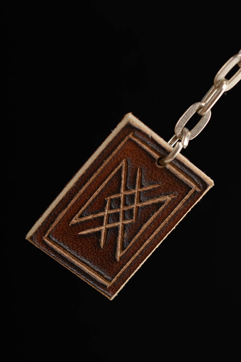 Leather keychain with runes for longevity photo 4