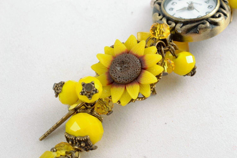 Reloj de autor de arcilla polimérica Amarillo  foto 3