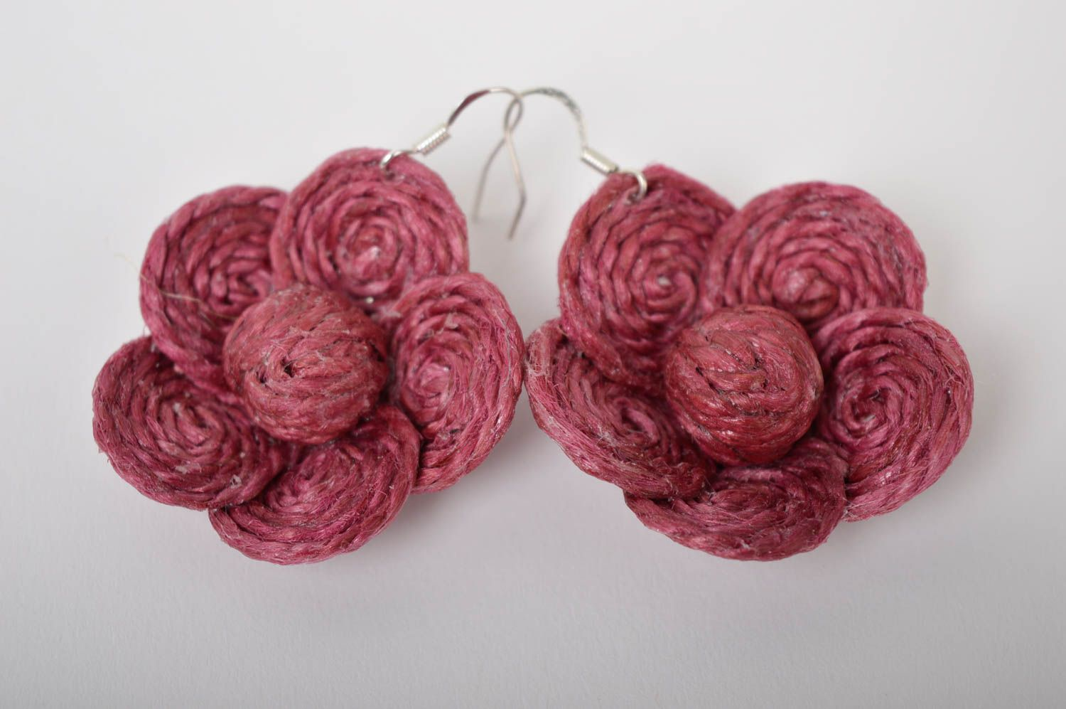 Unusual handmade flower earrings beautiful cord earrings jewelry designs photo 4