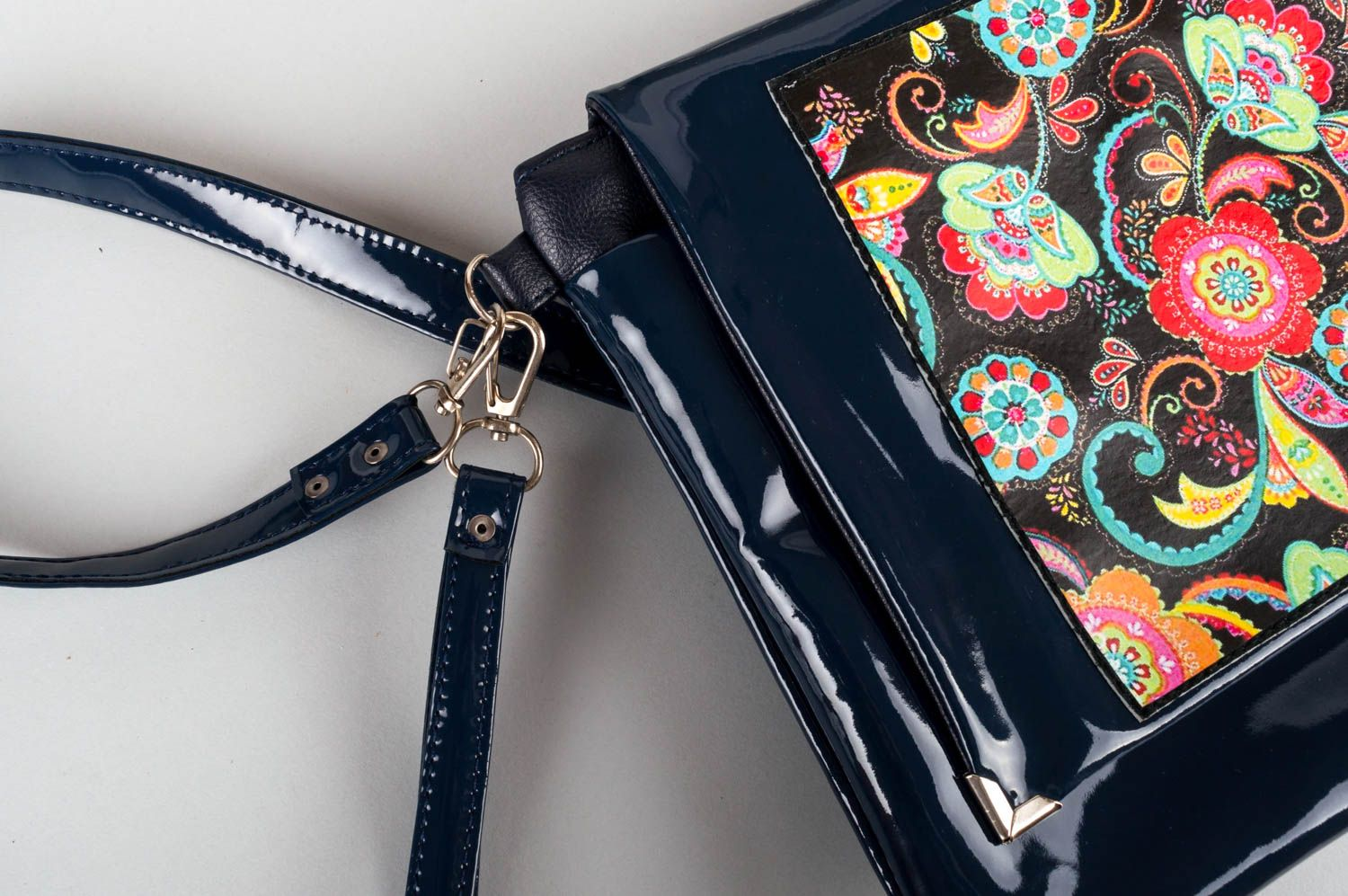 Bag made of artificial leather handmade lacquered clutch colorful accessories photo 6