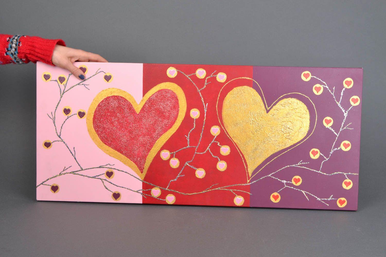 Handmade wall panel Two Hearts photo 2