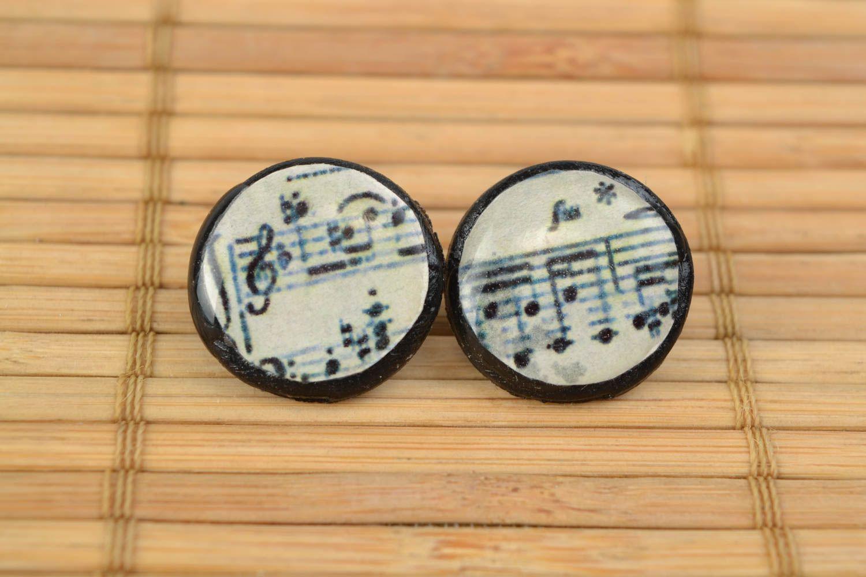 Homemade beautiful polymer clay round stud earrings Sheet Music photo 1