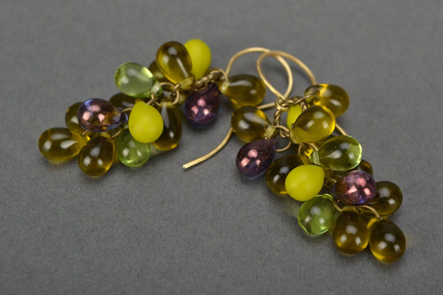 Handmade designer glass bead earrings in green color palette Bunches photo 4
