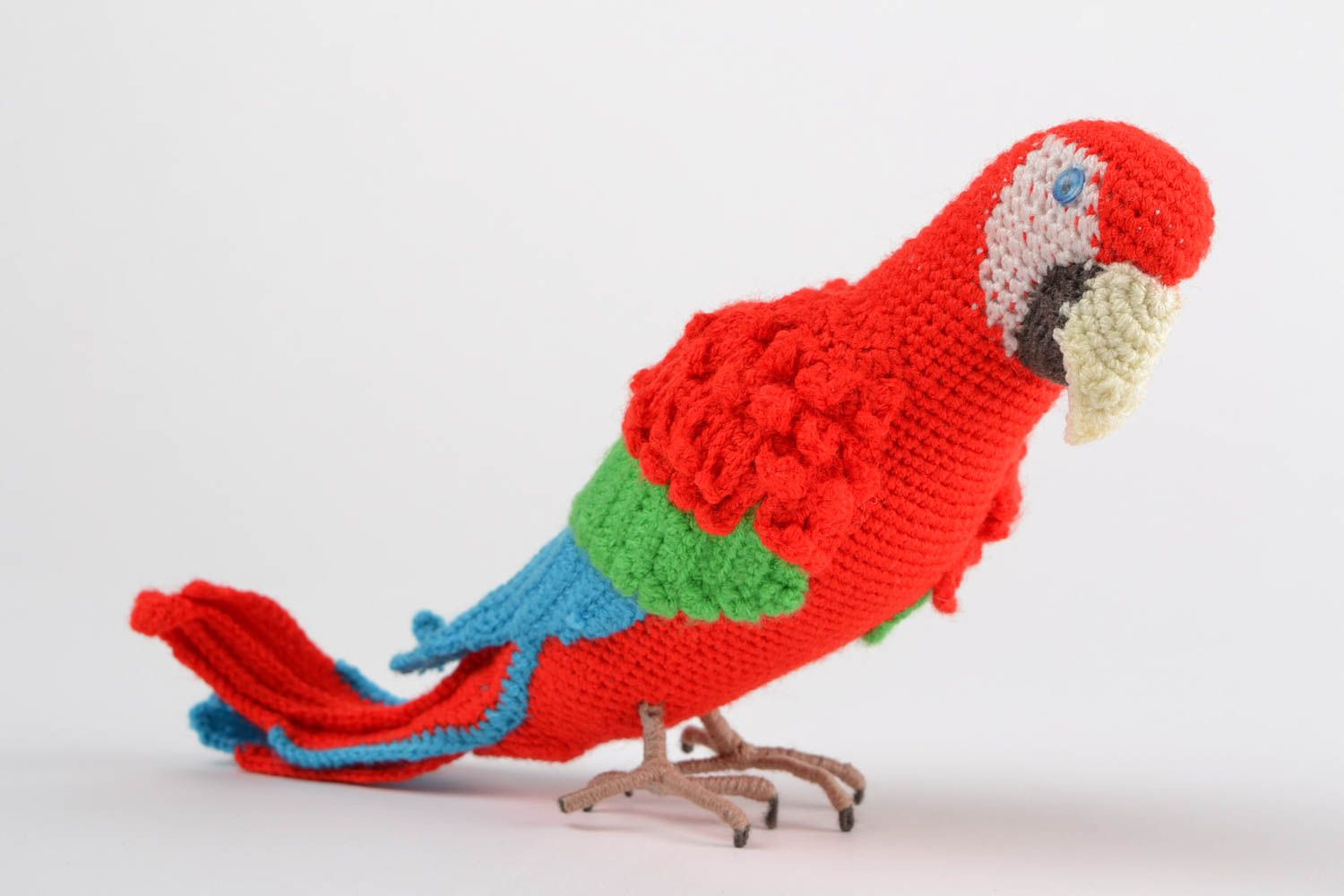 Handmade designer soft toy crocheted of colorful acrylic threads red parrot photo 1