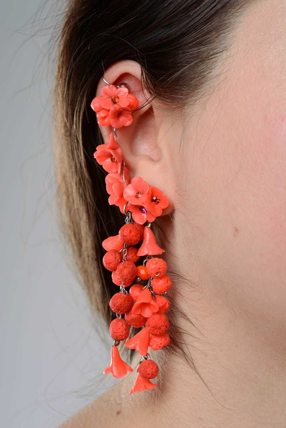 Long cuff earrings Flower Abundance photo 3