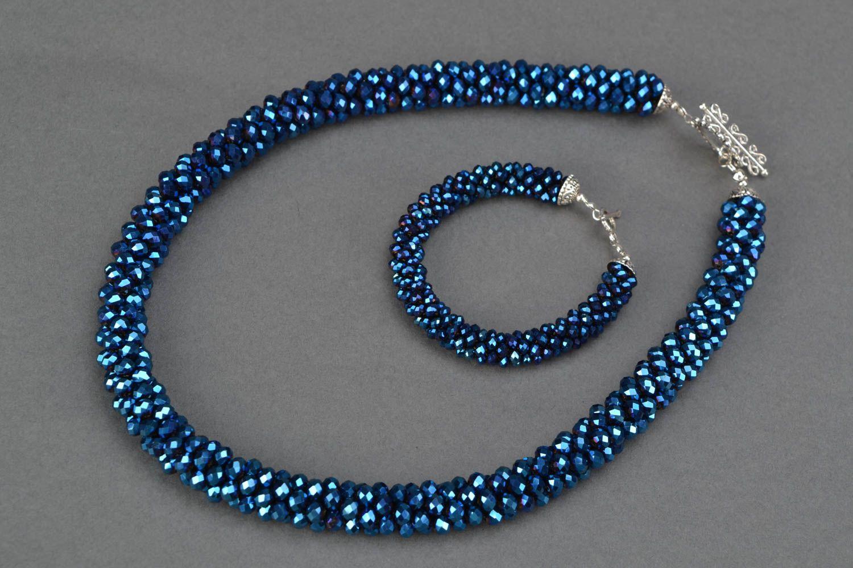 Czech glass jewelry set Bracelet and Necklace photo 3