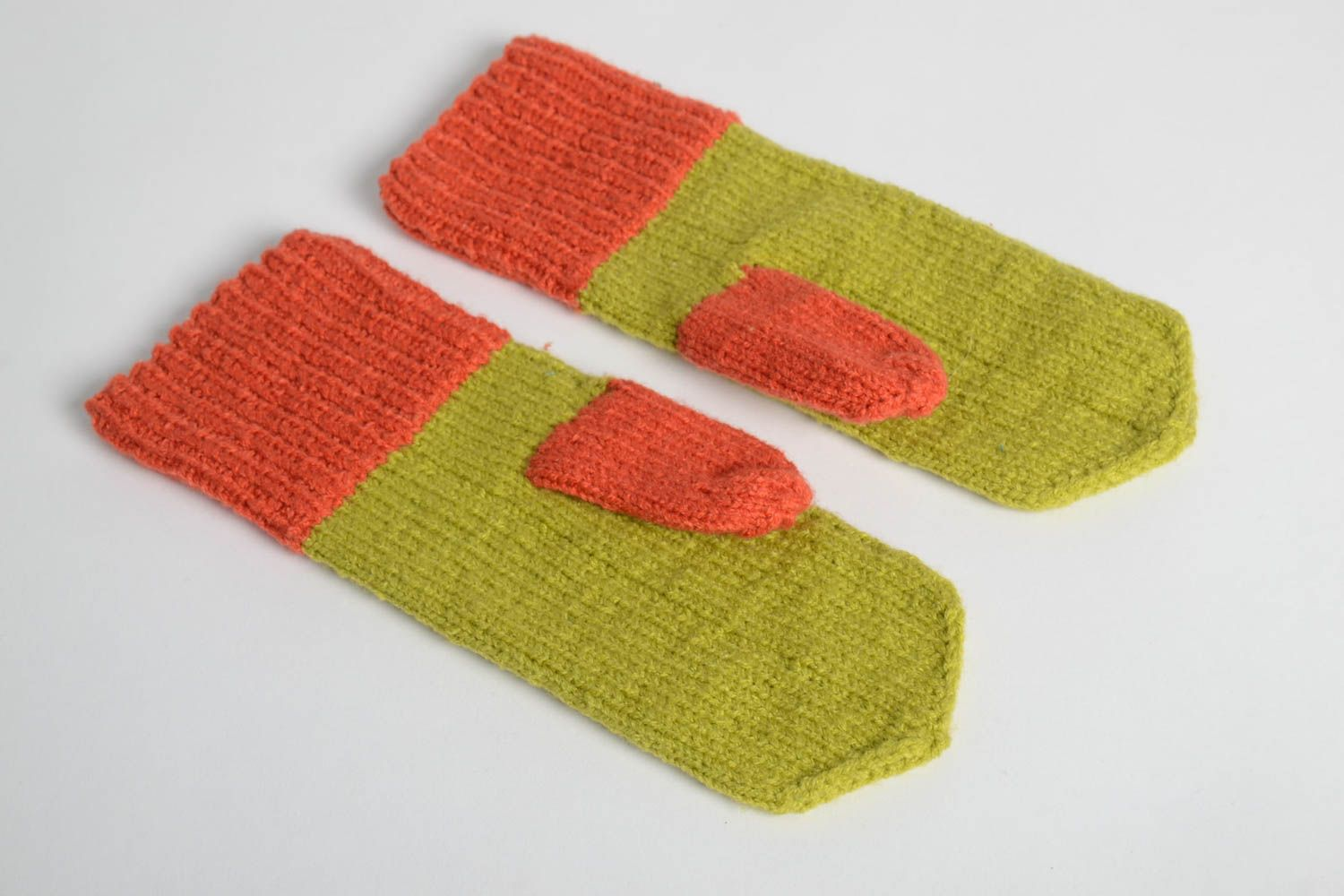Handmade bright beautiful mittens designer knitted mittens winter clothes photo 4