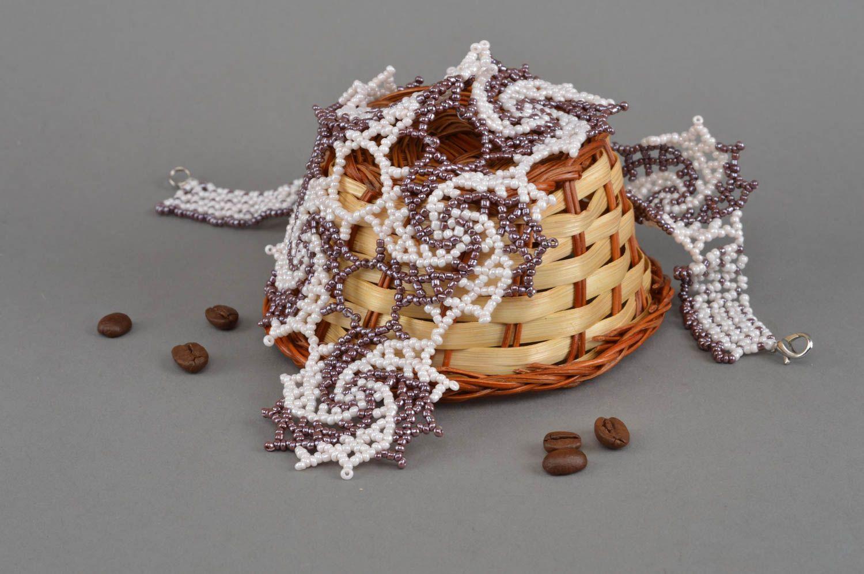 Handmade beaded necklace beautiful accessory elegant designer jewelry photo 1