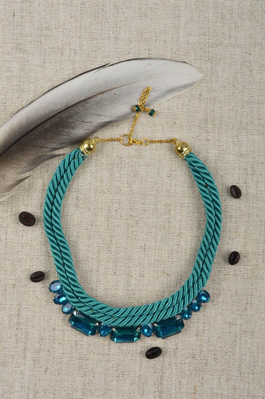 técnica mezclada Collar hecho a mano regalo original para mujer bisuteria fina de color turquesa ,