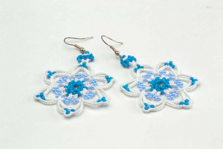 Crocheted handmade earrings photo 4