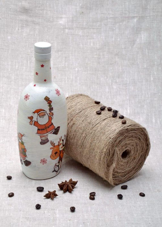 New Year decorative glass bottle  photo 2