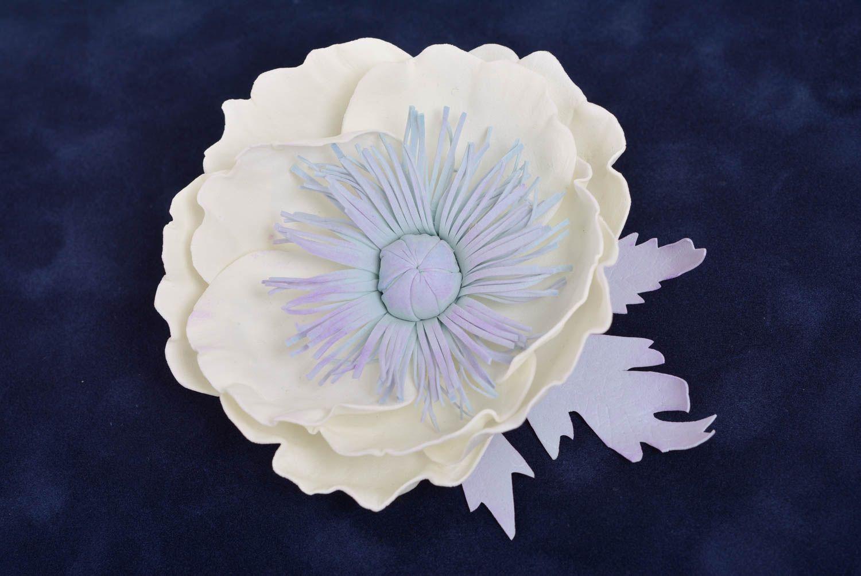Handmade designer hair clip brooch with large foamiran flower White Poppy photo 1
