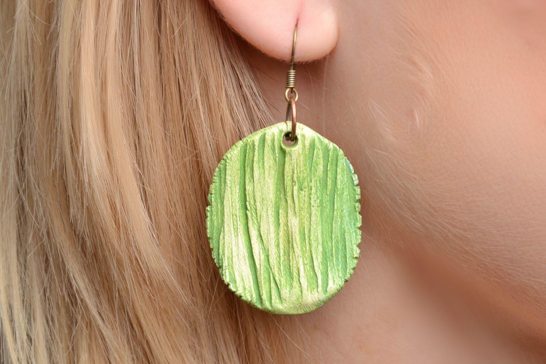 Homemade round clay earrings photo 2