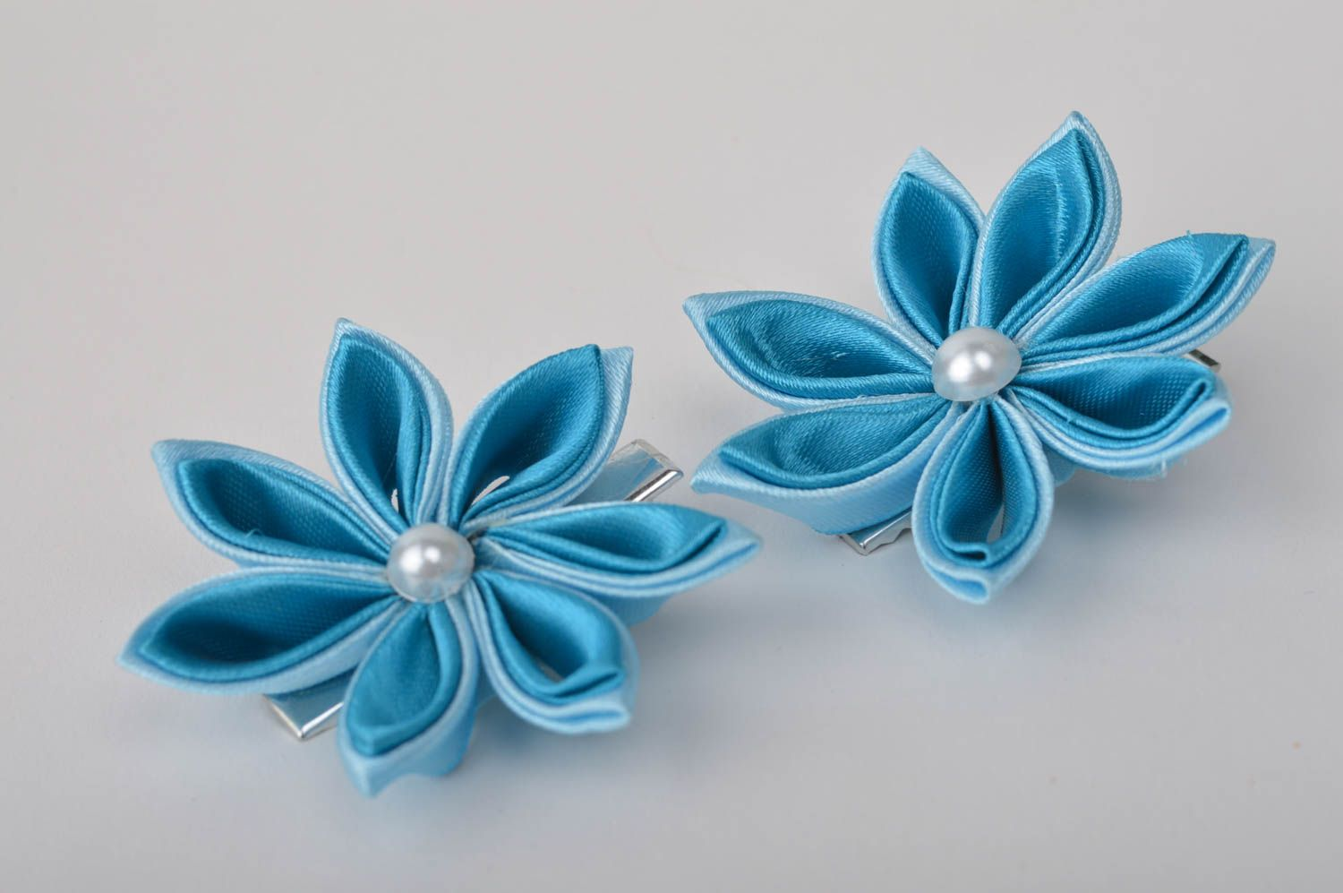 Handcrafted jewelry set 2 flower hair clips kanzashi flowers gifts for kids photo 7