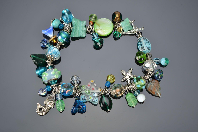 Lampwork bracelet in marine style photo 2