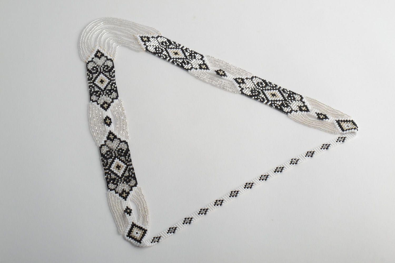 Black and white handmade beaded gerdan necklace photo 5