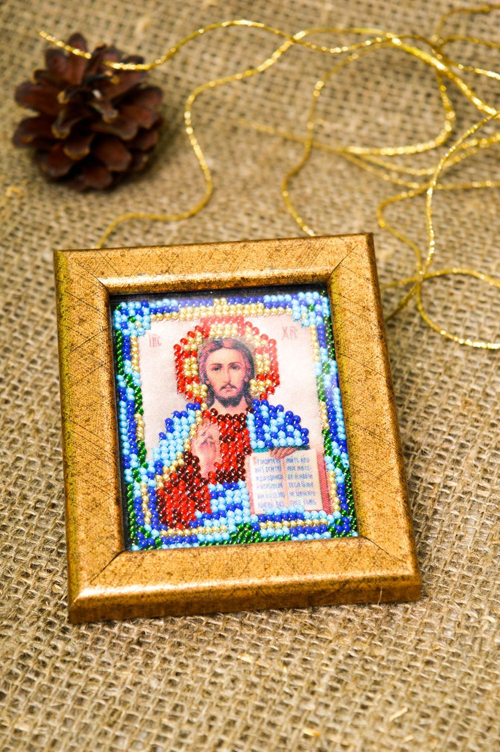 Handmade beautiful icon beaded icon in frame small orthodox icon present photo 1