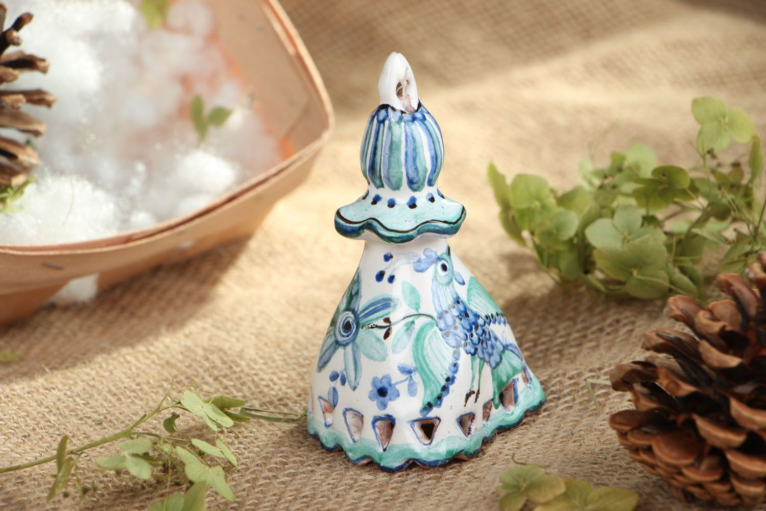 Painted clay bell photo 5