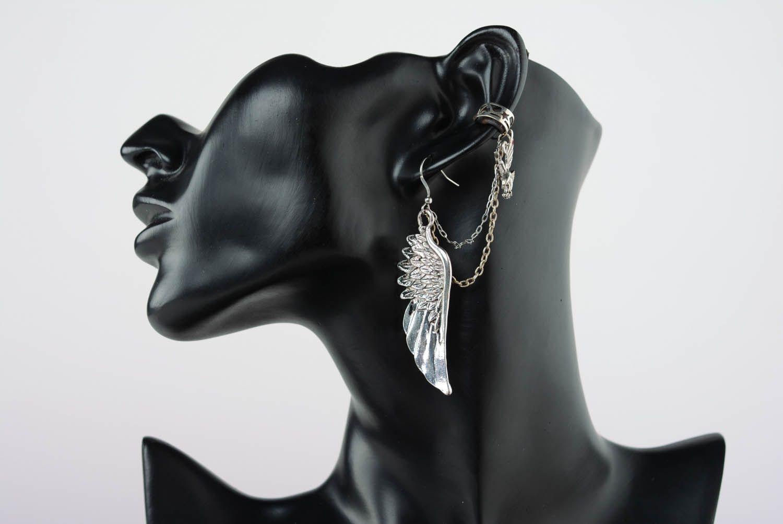 Cuff earrings made  of costume jewelery alloy Flight photo 1