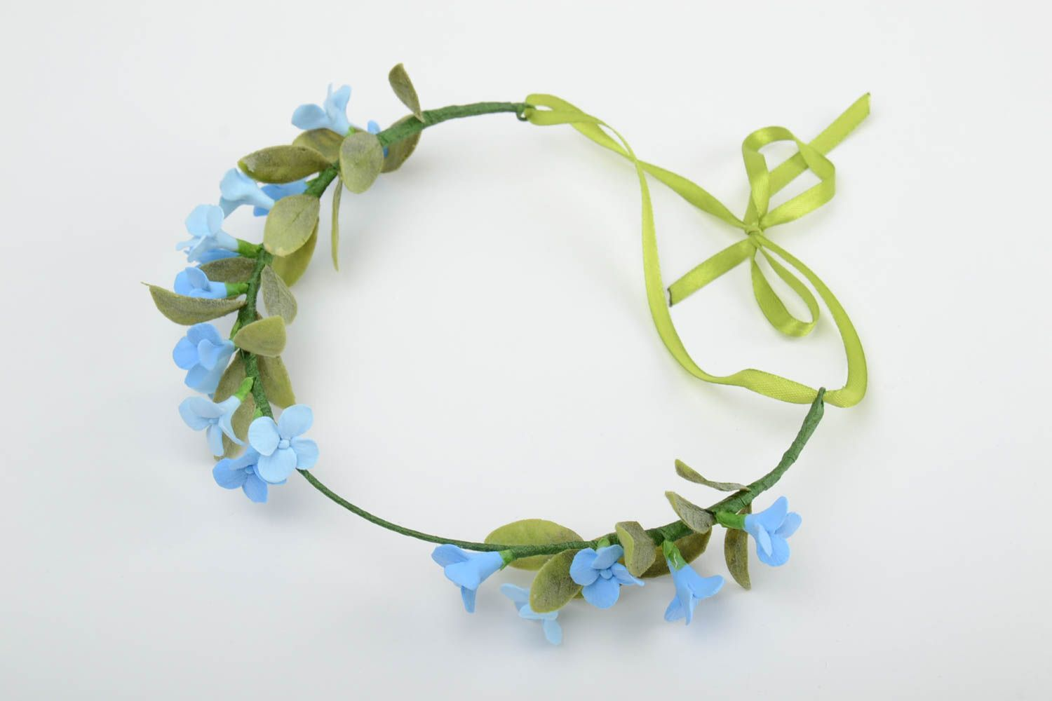 Handmade tender thin headband with polymer clay blue flowers and ribbon photo 3