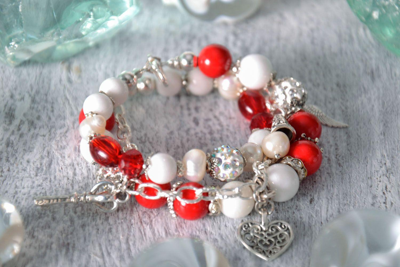Double wrap bracelet with coral photo 1