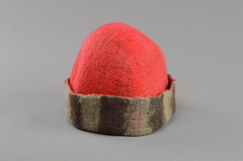 Handmade red felted wool sauna hat designer sauna accessories photo 1