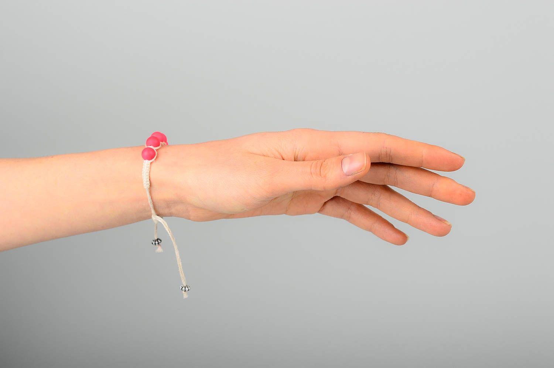 Handmade beaded textile bracelet unusual stylish bracelet elegant jewelry photo 2