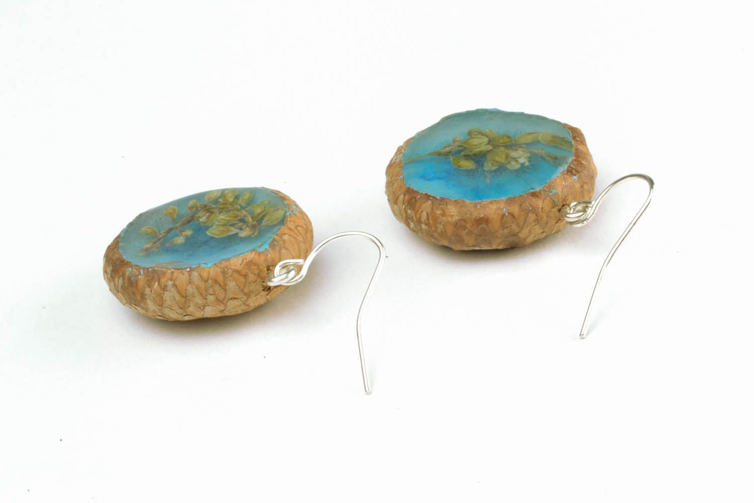 Earrings with dried flowers Acorns photo 3