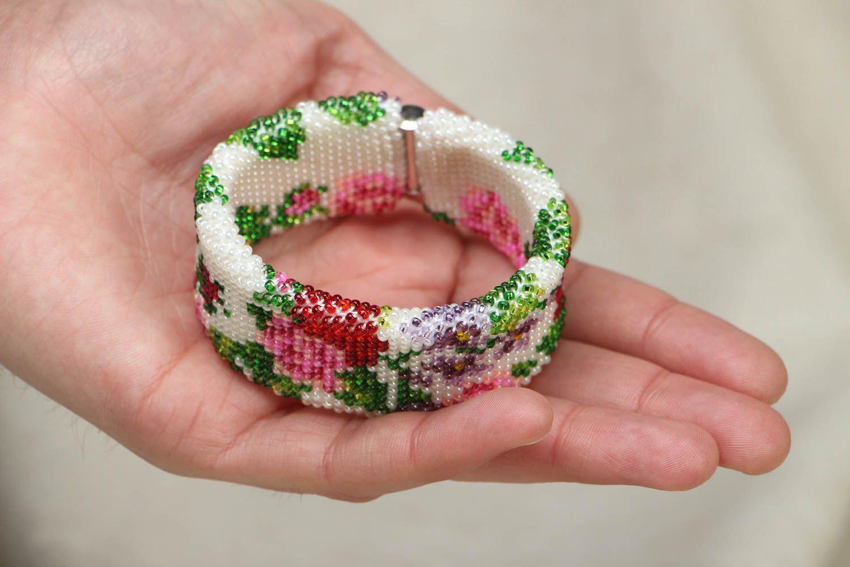 Wide beaded bracelet Victorian Garden photo 4