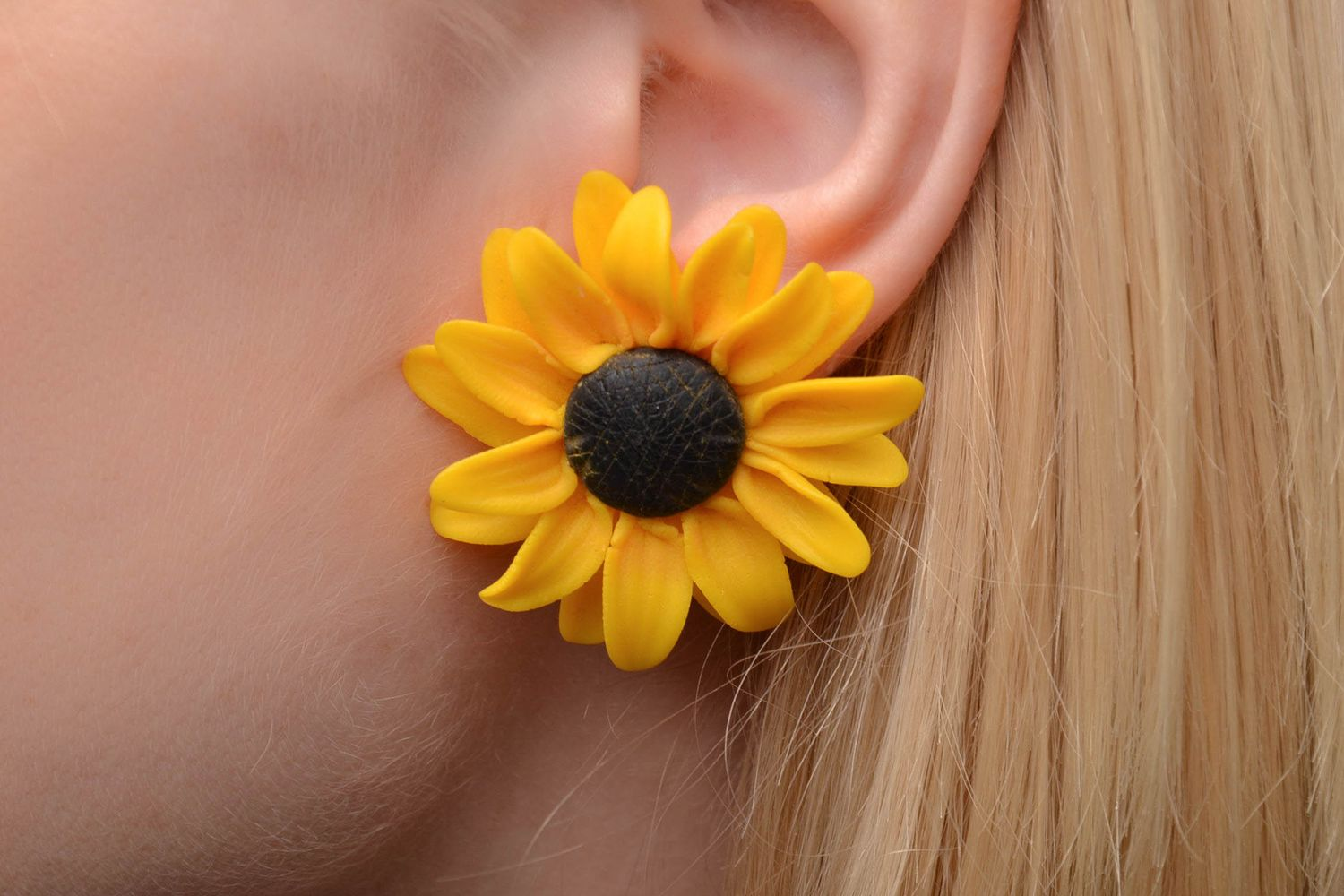 polymer clay earrings Polymer clay sunflower earrings - MADEheart.com