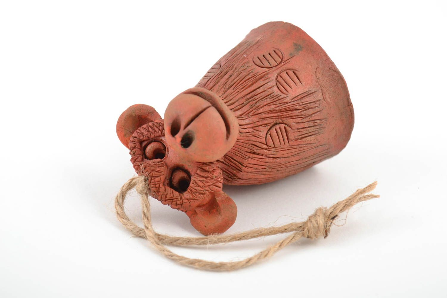 Handmade interior brown bell made of red clay decorative home statuette  photo 4