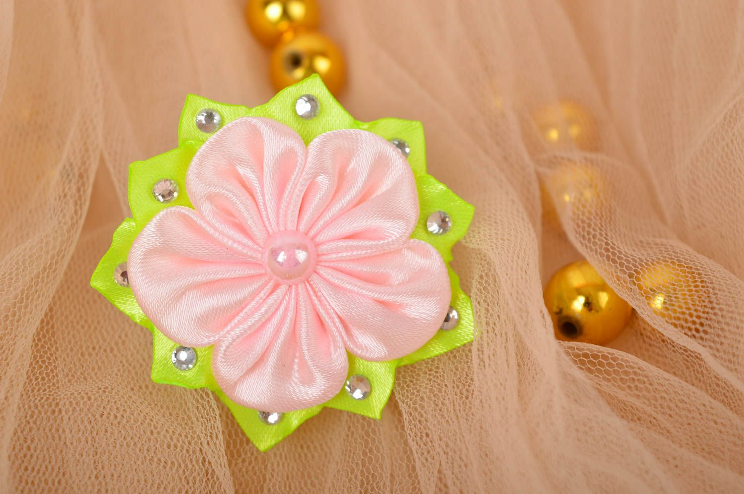 Handmade hair accessory hair tie flowers for hair gifts for kids hair jewelry photo 1