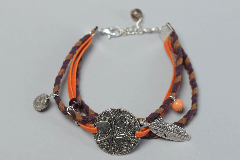 Handmade festive bracelet leather unusual accessory beautiful wrist jewelry photo 2