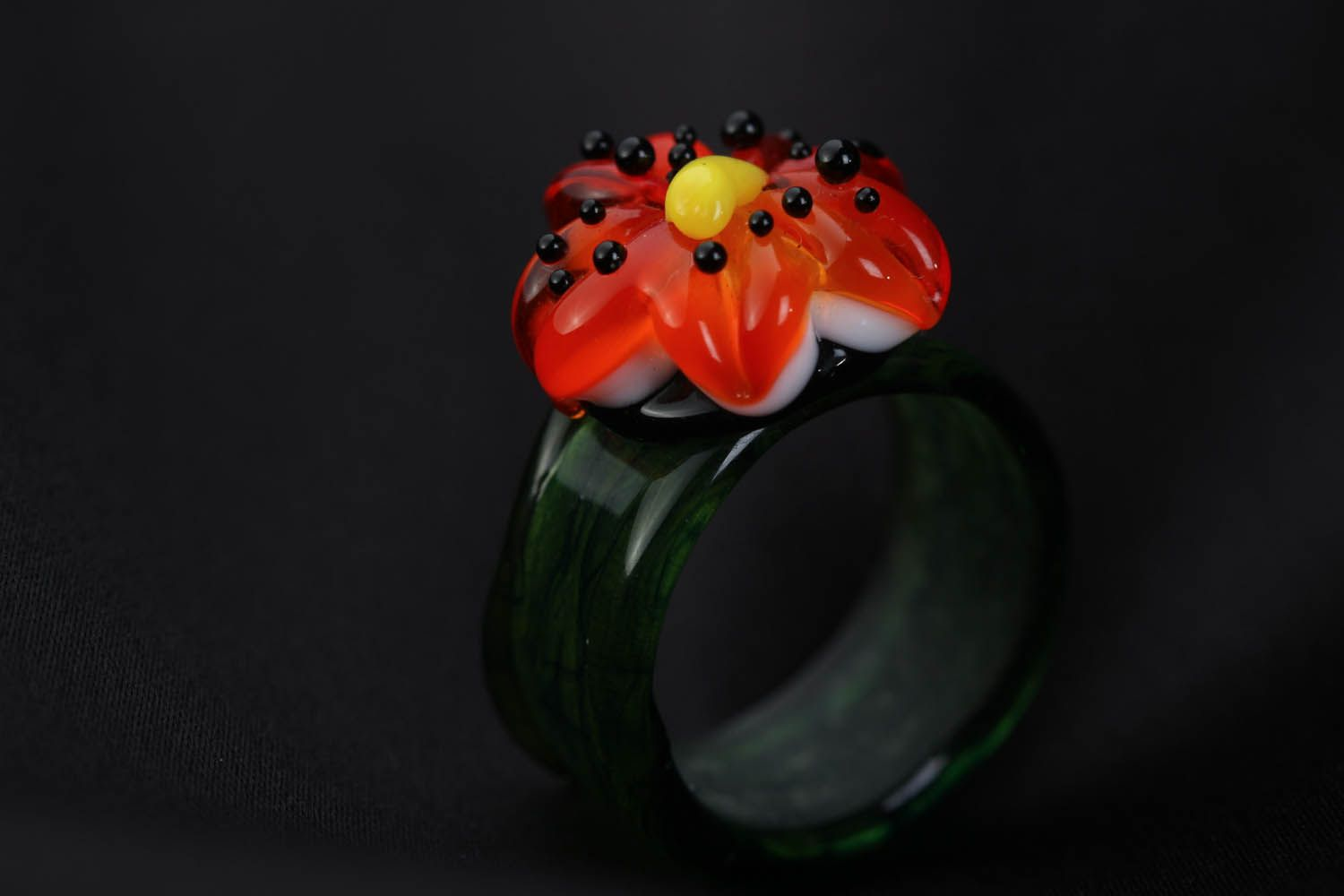 Glass ring made using lampwork technique Lily photo 2