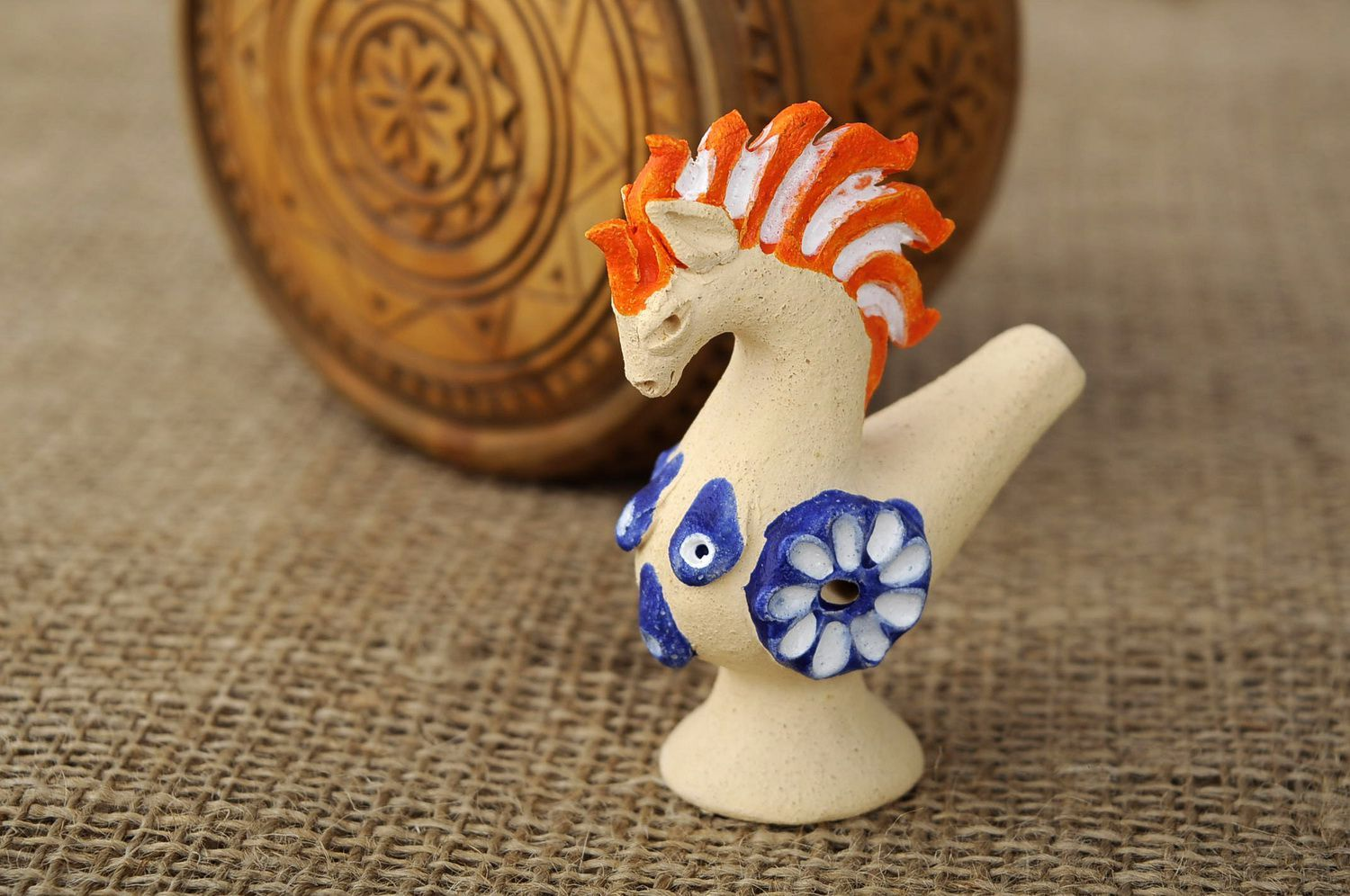 Painted clay penny whistle in the form of a horse photo 5